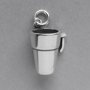 Takeaway travel coffee cup charm sterling silver pendant
