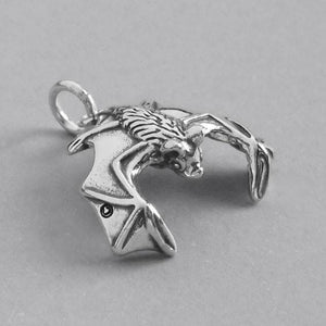Flying Bat Charm 925 Sterling Silver Pendant