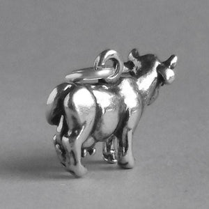 Jersey cow charm sterling silver pendant