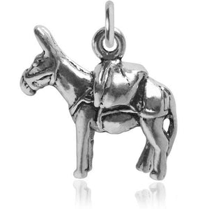 Donkey charm sterling silver 925 pendant
