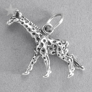 Giraffe Charm Sterling Silver Animal Pendant | Silver Star Charms
