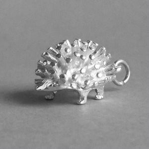 Hedgehog Charm Pendant in Sterling Silver or Gold