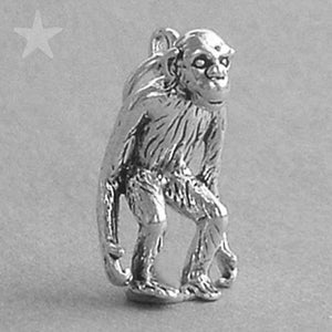 Sterling Silver Chimp Monkey Ape Charm Pendant