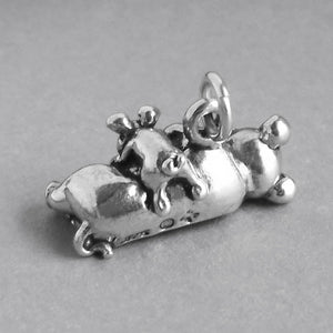 Pig and Piglet Charm Sterling Silver Animal Pendant | Amanda Jo Charms