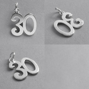 Number 30 Thirty Numeral Charm 925 Sterling Silver Pendant