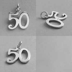 Number 50 Fifty Numeral Charm 925 Sterling Silver Pendant
