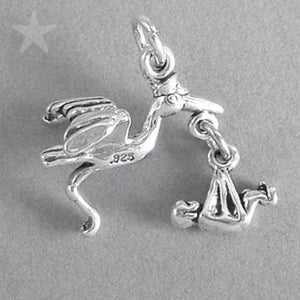 Stork Carrying Baby Charm Sterling Silver Pendant | Amanda Jo Charms