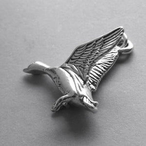 Duck flying charm 925 sterling silver pendant