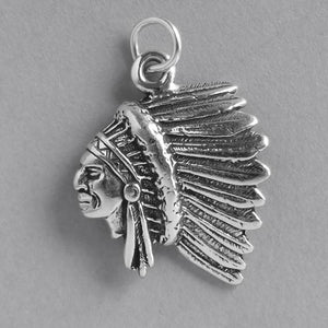 Sterling Silver Indian Chief Charm