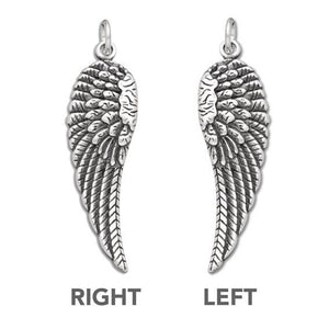 Sterling Silver Feathered Bird or Angel Wings Charm Pendant | Amanda Jo Charms