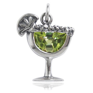 Margarita Cocktail Drink Charm Sterling Silver and Green Crystal