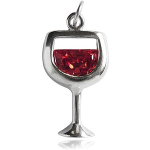 Glass of red wine sterling silver and crystal charm or pendant | Amanda Jo Charms