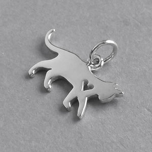 Walking Cat and Heart Charm Sterling Silver Pendant | Amanda Jo Charms