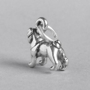 Sterling silver pug dog charm