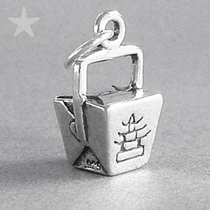 Chinese Takeout Box Charm Sterling Silver Food Pendant | Silver Star Charms