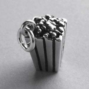 Popcorn Charm Sterling Silver Snack Food Pendant | Amanda Jo Charms