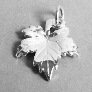 Maple Leaf Charm Sterling Silver or Gold Pendant | Silver Star Charms
