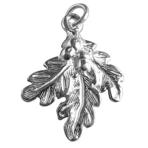 Oak Leaves and Acorns Charm in Sterling Silver or Gold