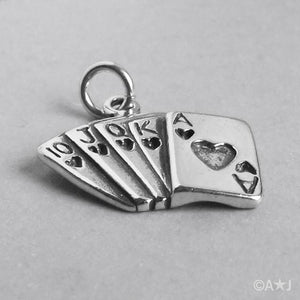 Sterling Silver Royal Flush Playing Cards Charm