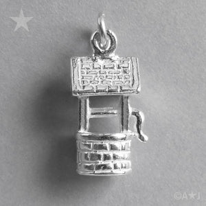 Wishing Well Charm Sterling Silver or Gold Pendant | Charmarama