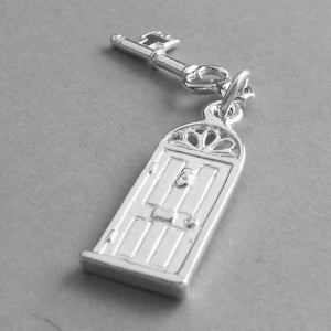 Front Door and Key Charm Sterling Silver or Gold Pendant