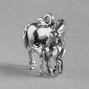 Sterling Silver Mare and Foal Charm