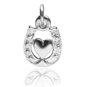 Horseshoe and Heart 925 Sterling Silver Charm