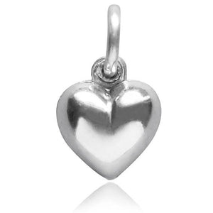 Sterling silver 925 puffy puffed heart charm pendant