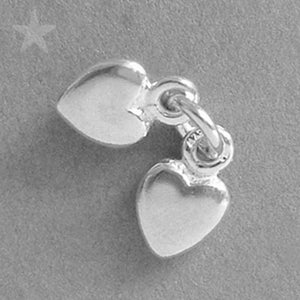 Two Hearts Charm in Sterling Silver or Gold
