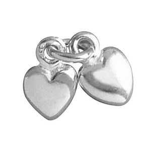 Two Hearts Double Heart Sterling silver or Gold Charm