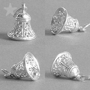 Filigree Bell Charm 925 Sterling Silver or Gold Pendant