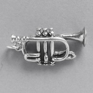 French trumpet charm sterling silver music pendant