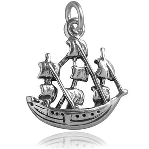 Clipper Sailing Ship Charm Sterling Silver Nautical Pendant | Amanda Jo Charms