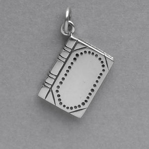 Leather Bound Book Charm Sterling Silver Journal Pendant | Amanda Jo Charms