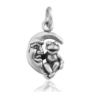 Frog sitting on moon charm 925 sterling silver pendant