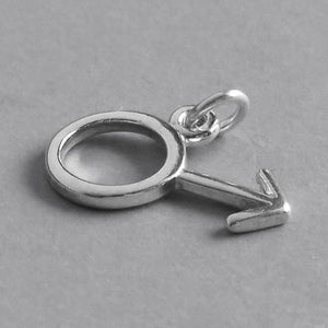 Male gender symbol sign charm sterling silver 925 pendant