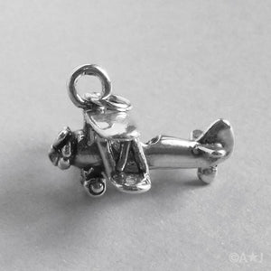 Sterling Silver Biplane Aircraft Charm
