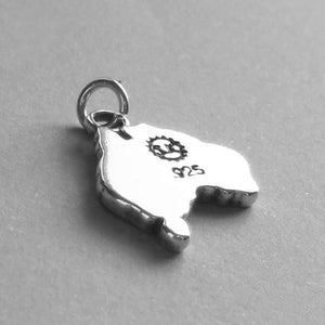 Sterling Silver Map of Australia Charm Pendant