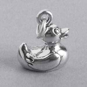 Rubber Ducky Charm Sterling Silver Toy Bird Pendant | Amanda Jo Charms