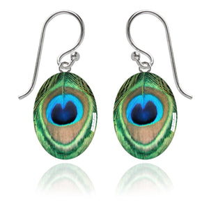 Peacock Feather Meniscus Earrings | Amanda Jo Jewellery