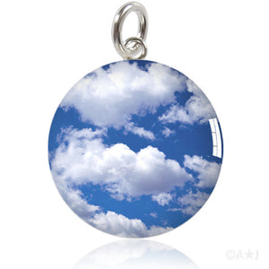 Blue Sky White Clouds Meniscus Pendant