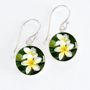 Frangipani Flowers Meniscus Earrings