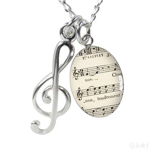 Treble Clef and Sheet Music Charm Necklace