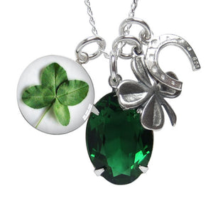 Luck of the Irish Sterling Silver Green Swarovski Crystal Necklace