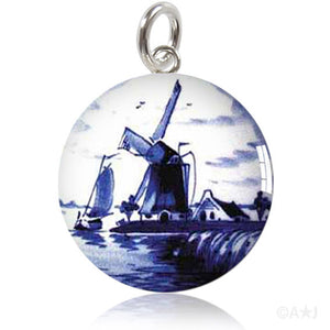Dutch Delft Blue Windmill Meniscus Pendant