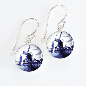 Dutch Delft Blue Windmill Meniscus Earrings
