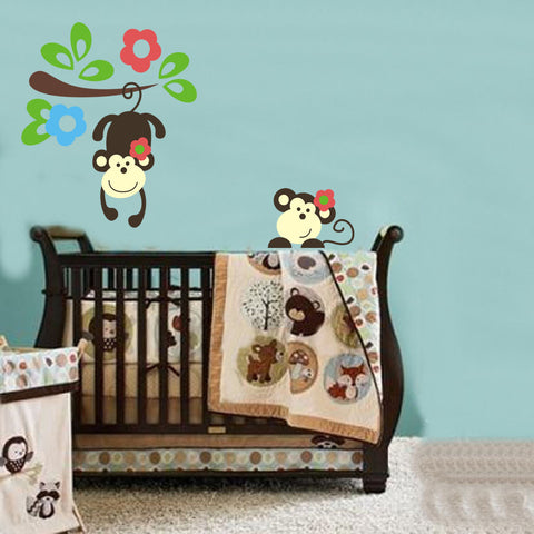 Cute swinging monkey wall sticker