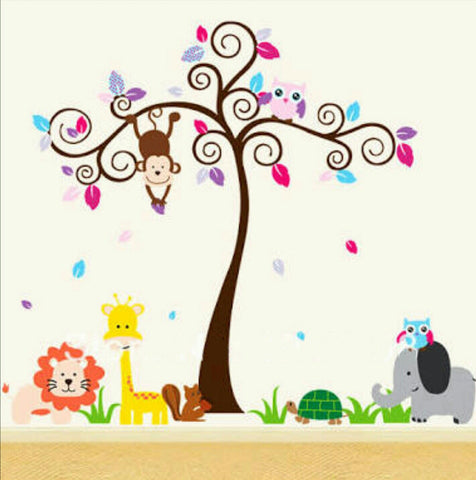 Curly Tree and Animals Wall Sticker