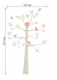 Grey Tree with Pink Birds