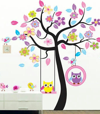 Swinging Owls in Tree Wall Sticker